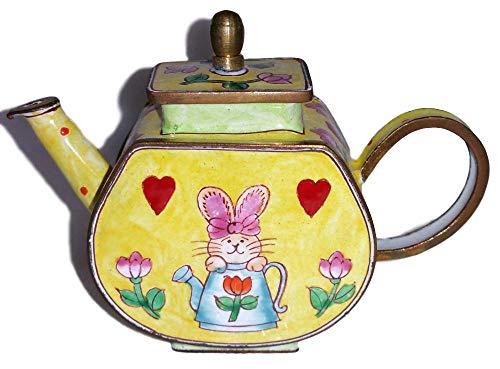 Art Gifts Kelvin Chen Pink Bunny Rabbit and Tulip Flowers Yellow Decorative Enamel Teapot