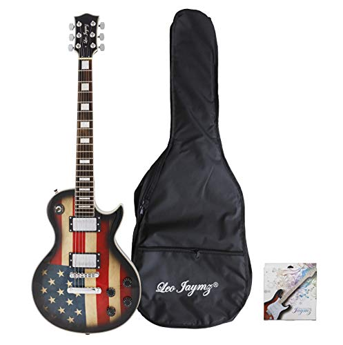 Leo Jaymz Single cut Electric guitar with flag sticker design (US Flag)