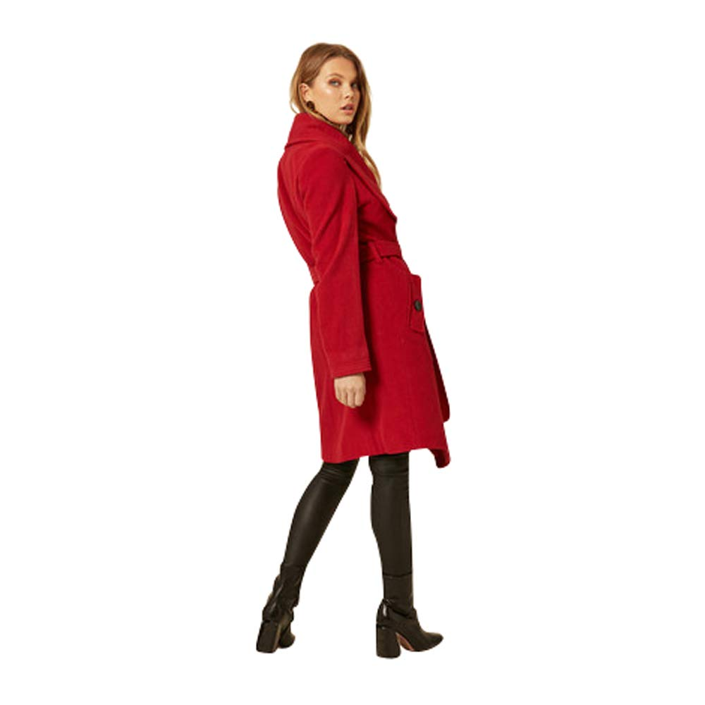 De La Creme Women`s Winter Wool Cashmere Wrap Coat with Large Collar