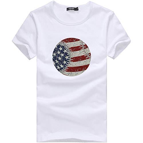Plus Size Clothing Tees Tops Shusuen Women Oversize American Flag Print T-Shirt Summer Casual Blouse White -