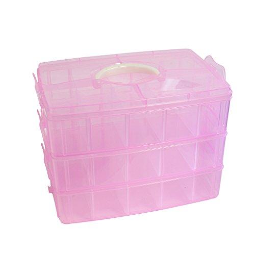 3 teilige transparente rosa farbige Kunststoff Aufbewahrungsbox Handwerks Arbeiten Box Set von Kurtzy TM