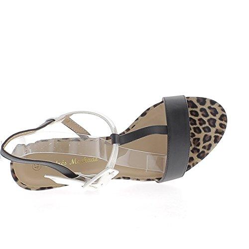 Sandales grande taille léopard mat à talon de 12 cm larges brides