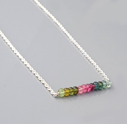 Watermelon Stone Necklace (Watermelon Tourmaline Layering Bar Necklace with Sterling Silver Chain 16