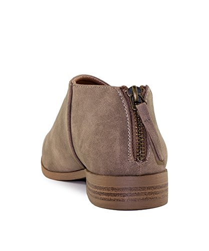 Shank Taupe Women's Vegan Heel On Almond Low RF Loafers Inspired Western Distressed Slip Nubuck ROOM Shoes Flats Vegan Stacked Heel FASHION Toe Open OF twqqRxa0C