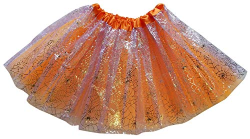 Sparkle Lined Skirt - Halloween Tutu Orange Tulle Skirt with Silver Sparkle Spider Webs fits Girls, Teens, Women