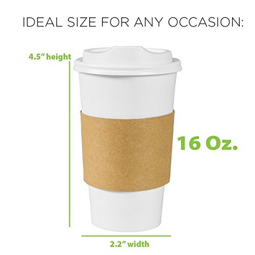 Premium Quality 16 Oz. Disposable White Hot Paper Coffee Cups By PrepStor - 50 Pack Set Complete With Travel Protective Sleeves & Lids - Perfect For Take Away, Office Use, Bars & Coffee Shops by PrepStor