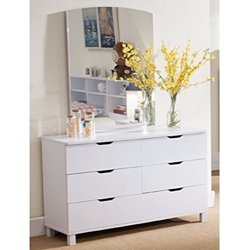 Benzara Spacious Glossy White Finish 6 Drawers Dresser,