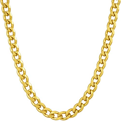 Gold Cuban Link Chain 5MM, Round, 24K Overlay Premium Fashion Jewelry Necklaces, Resists Tarnishing, 24 Inches ()