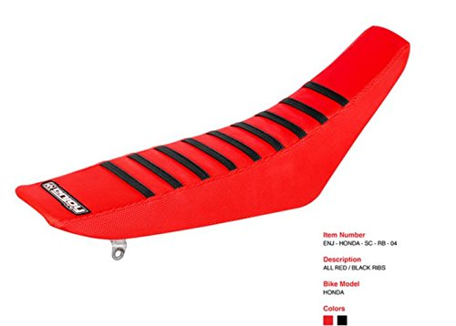 Enjoy MFG Ribbed Seat Cover for 2014-2017 Honda CRF 250 R Latest Models - All Red/Black Ribs