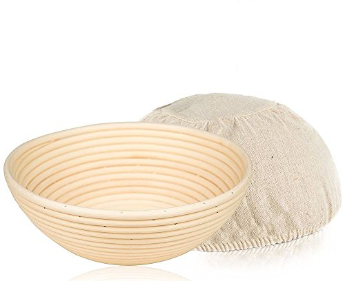 SugusHouse 9 inch Round Bread Banneton Proofing Basket & Liner Brotform Dough Rising Rattan Handmade rattan bowl - Perfect For Artisan by SugusHouse