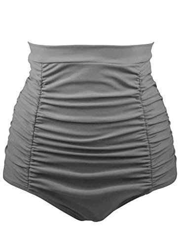 Aleumdr Women Retro High Waisted Bikini Bottom Ruched Pleated Plain Swim Short Tankinis Medium Size Grey - Grey Bikini Bottoms