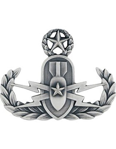 EOD (Explosive Ordnance Disposal) Metal Badge Insignia - Non-Subdued Silver Oxide (MASTER) (Master Subdued)