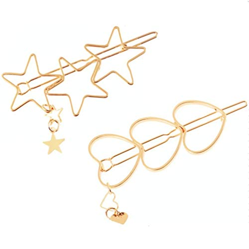 Hairpin Hollow Out Star Tassel Hair Pin Heart Hair Clips Bobby Pins Hair Ornament Decoration Accessory for Women and Girls
