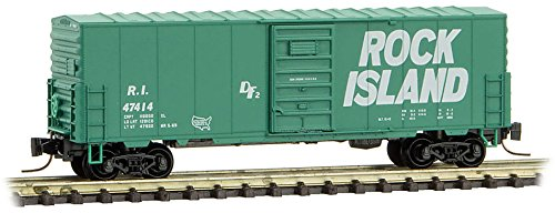 Rock Island Boxcar - Micro-Trains MTL Z-Scale 40ft Box Car Rock Island/RI (Green/White) #47414