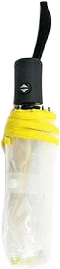 Fablcrew 1Pcs Parapluie Transparent Parapluie Pliable Automatique pour Femme Parapluie Transparent Pliant Automatique Coupe-Vent Compact