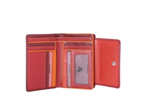 Visconti RB98 Multi Colored Soft Leather Ladies / Girls Compact Bifold Wallet & Purse (Red)