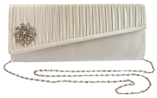 Dora Flower Clutch Diamante Ladies Womens Lora Prom Bag Satin Evening Ivory Party Wedding dO7Ot