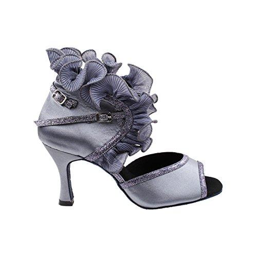 50 Nuances De Chaussures De Danse En Argent: Robe De Soirée Confort, Pompes De Mariage, Chaussures De Bal Pour Le Latin, Tango, Salsa, Swing, Art De La Mode Par 50 Teintes (talons 2,5, 3 Et 3,5) 7013- Gris Argent Satiné