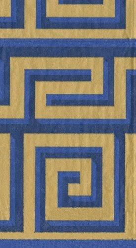 Toallas de mano de decoración de Navidad fiestas de Navidad toallas de papel para invitados de griego Meander azul/oro: Amazon.es: Hogar