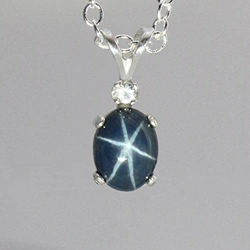 Blue Star Sapphire Necklace Sterling Silver Blue Sapphire Star Necklace