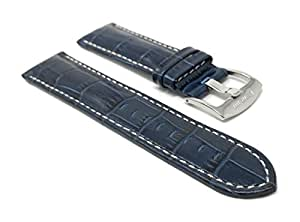 Extra Long, 22mm Blue Smartwatch Band Strap fits Motorola 360 (46mm Case), Samsung S3 Classic & Many More, Alligator Pattern, Leather