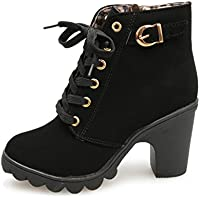 Womens High Heel Lace Up Ankle Boots Ladies Buckle Platform Shoes by TOPUNDER
