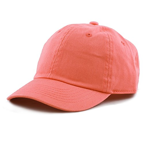 The Hat Depot Kids Washed Low Profile Cotton and Denim Baseball Cap (Coral)