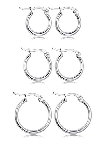 Fiasaso 3 Pairs 925 Sterling Silver Small Hoop Earrings For Women Girls Round Huggie Clip On Hoop Earrings Set 12MM 15MM 20MM Silver Tone ()