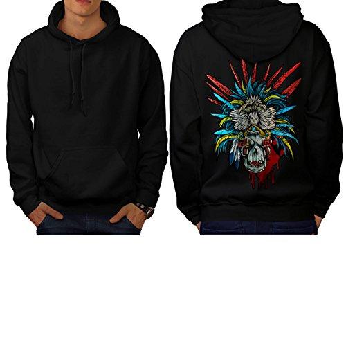 [Skull Indian Warrior Costume Men NEW L Hoodie Back | Wellcoda] (Mayan Warrior Costumes)