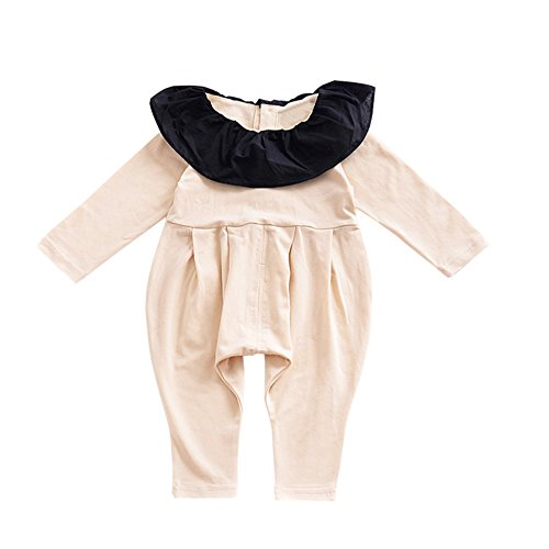 Gprince Baby Boy Girl Clothes Jumpsuit Open-crotch Conjoined Long Sleeve Clothes Light Yellow 90cm (One Cheerleader Dress Piece Toddler)