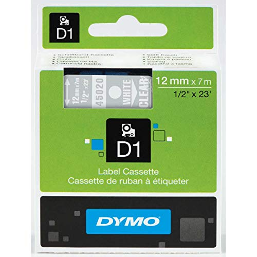 (DYMO Standard D1 Labeling Tape for LabelManager Label Makers, White print on Clear tape, 1/2'' W x 23' L, 1 cartridge (45020))