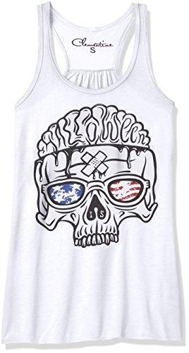 Clementine Women's Petite Plus Us Skull Printed Flowy Racerback Tank, White, XXL