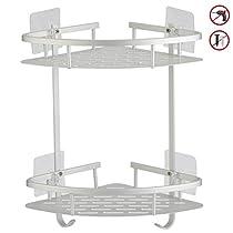 Hawsam No Drilling Bathroom Corner Shelves,Aluminum 2 Tier Adhesive Shelf Basket for Shampoo
