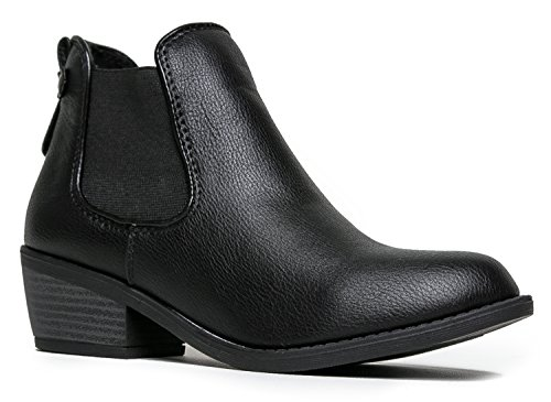 Vegan Walking Boots - Western Chelsea Ankle Boot - Cowgirl Low Stacked Heel Bootie - Comfortable Casual Walking Shoe - Fashion Slip on Cowboy Boot, 8.5 B(M) US, Black Pu