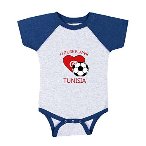 Price comparison product image Cute Rascals Future Soccer Player Tunisia Baby Baseball Raglan Bodysuit Gray / Royal Blue 6 Months