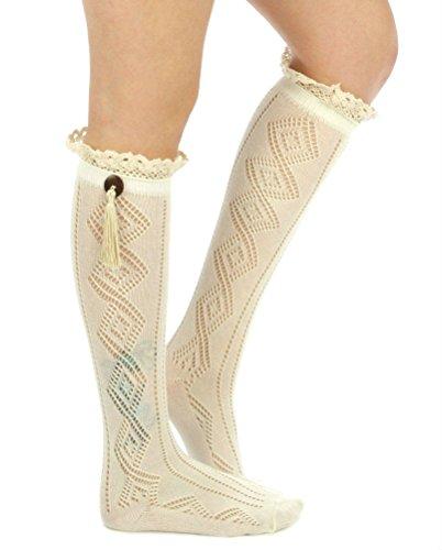 Gingas Galleria Mujeres Lace Button Tassel Calcetines A La Rodilla Calcetines Bota Marfil