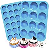 Silicone Muffin and Cupcake Pans | Cake molds | 2 SETS | LARGE (12) AND SMALL (24) | BPA FREE | Non Stick Bakeware | Easy to Clean and Non Stick | Dishwasher Safe