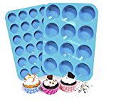 Silicone Muffin and Cupcake Pans   Cake molds   2 SETS   LARGE (12) AND SMALL (24)   BPA FREE   Non Stick Bakeware   Easy to Clean and Non Stick   Dishwasher Safe