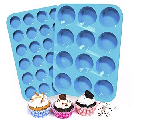 (Silicone Muffin and Cupcake Pans | Cake molds | 2 SETS | LARGE (12) AND SMALL (24) | BPA FREE | Non Stick Bakeware | Easy to Clean and Non Stick | Dishwasher Safe)