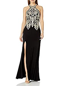 My Michelle Sequin Hearts Junior's Long Prom Dress with Gold Embroidery and Sequins