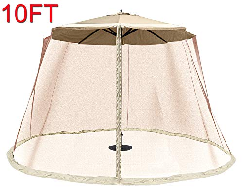 OUTDOOR WIND Outdoor 10FT Patio Umbrella Table Cover Mosquito Polyester Netting Screen,Beige (Netting Umbrella With)