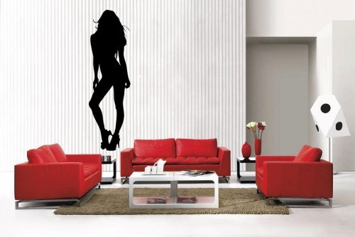 Newclew Sexy Lady Girl Woman Silhouette removable Vinyl Wall Decal Home Décor Large ()