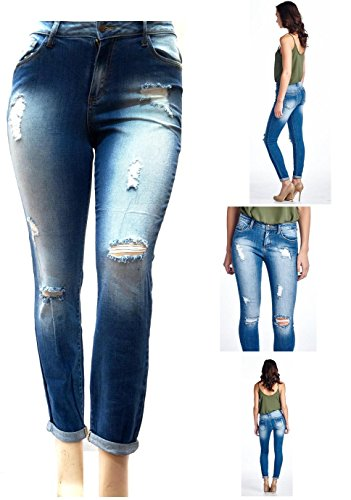 CL WOMENS PLUS SIZE BLUE Denim Stretch CROP Ripped JEANS Skinny Distressed  Pants de74fc12f