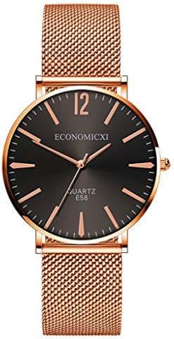 Ultramall BC74 Fashion Watch Women Mesh Stainless Steel Bracelet Casual Quartz Wrist Watch