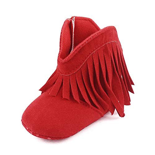 Baby Girls' Boys' Cowboy Tassel Boots Red 6-12 Months
