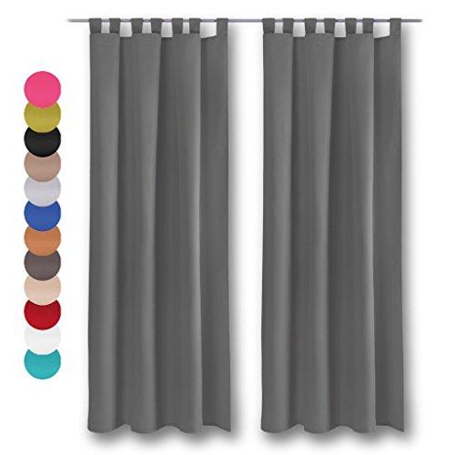Dekoschal 2er Pack mit Schlaufen, Vorhang Gardine, Auswahl: 140 x 245 cm anthrazit - dunkelgrau inkl. Raffhalter 2er Set