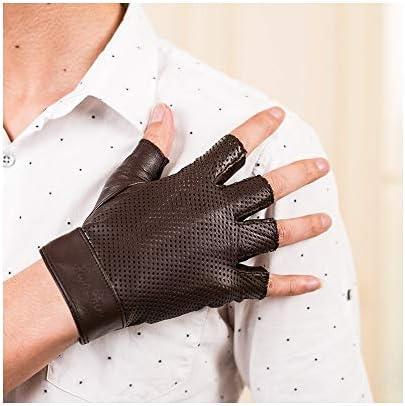 手袋 日常 実用 メンズハーフフィンガーレザーグローブ薄い通気性の夏のオートバイオートバイグローブ (Color : Brown, Size : S)