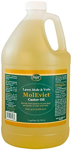 Baar Lawn Mole Castor Oil, MolEvict, Helps Rid Lawns & Gardens of Pesky Moles & Voles - 1 Gallon