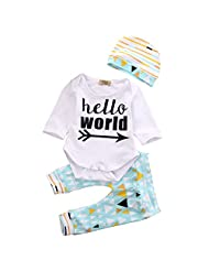 Ownmagi 3Pcs Newborn Baby Boys Girls Tops Romper Hat Deer Pants Outfits Clothes Cute