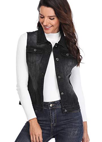 MISS MOLY Women's Black Denim Vest Jean Jackets Cropped Washed Classic Vintage Western Pockets S
